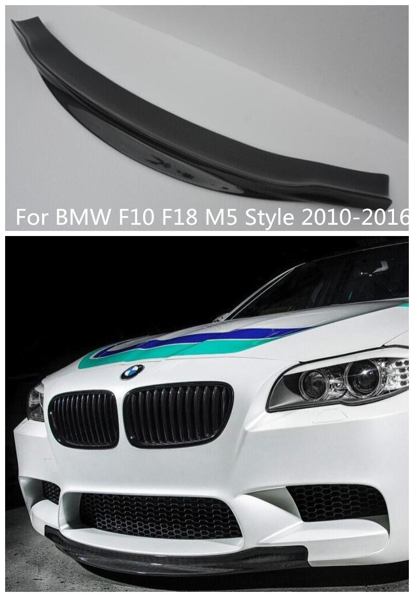 High quality Car Carbon Fiber Bumper Front Lip Spoiler Diffuser Cover Fit For BMW F10 F18 M5 Style 2010 2016 BY EMS
