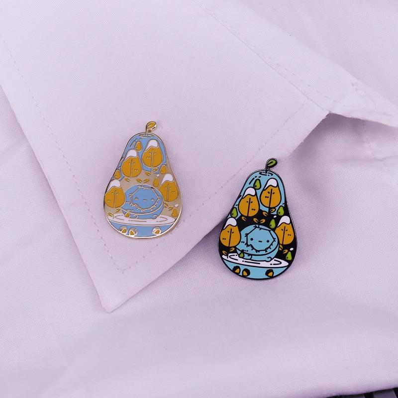 Image 3 - Pair of pears enamel pin cute fruit brooch pearringpattern mosaic  virus lapel badge artist gift kawaii themed adventure time jewPins