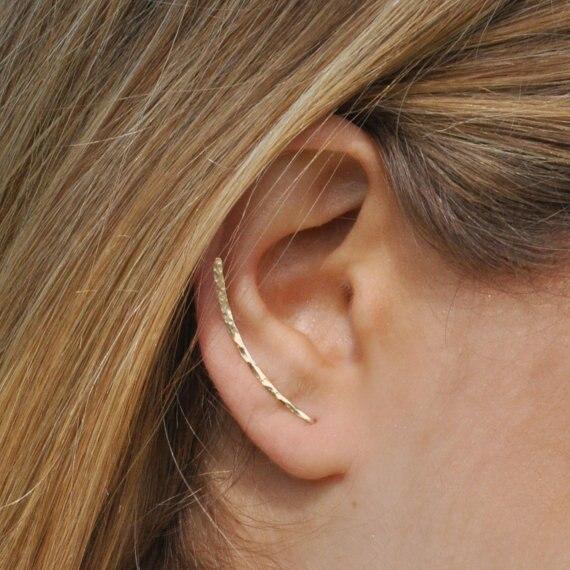 PINJEAS fatti a mano Orecchini del polsino Scalatore Crawler Bar Pins spazzata Lunga clip on ear oorbellen minimalista regalo Jewerly