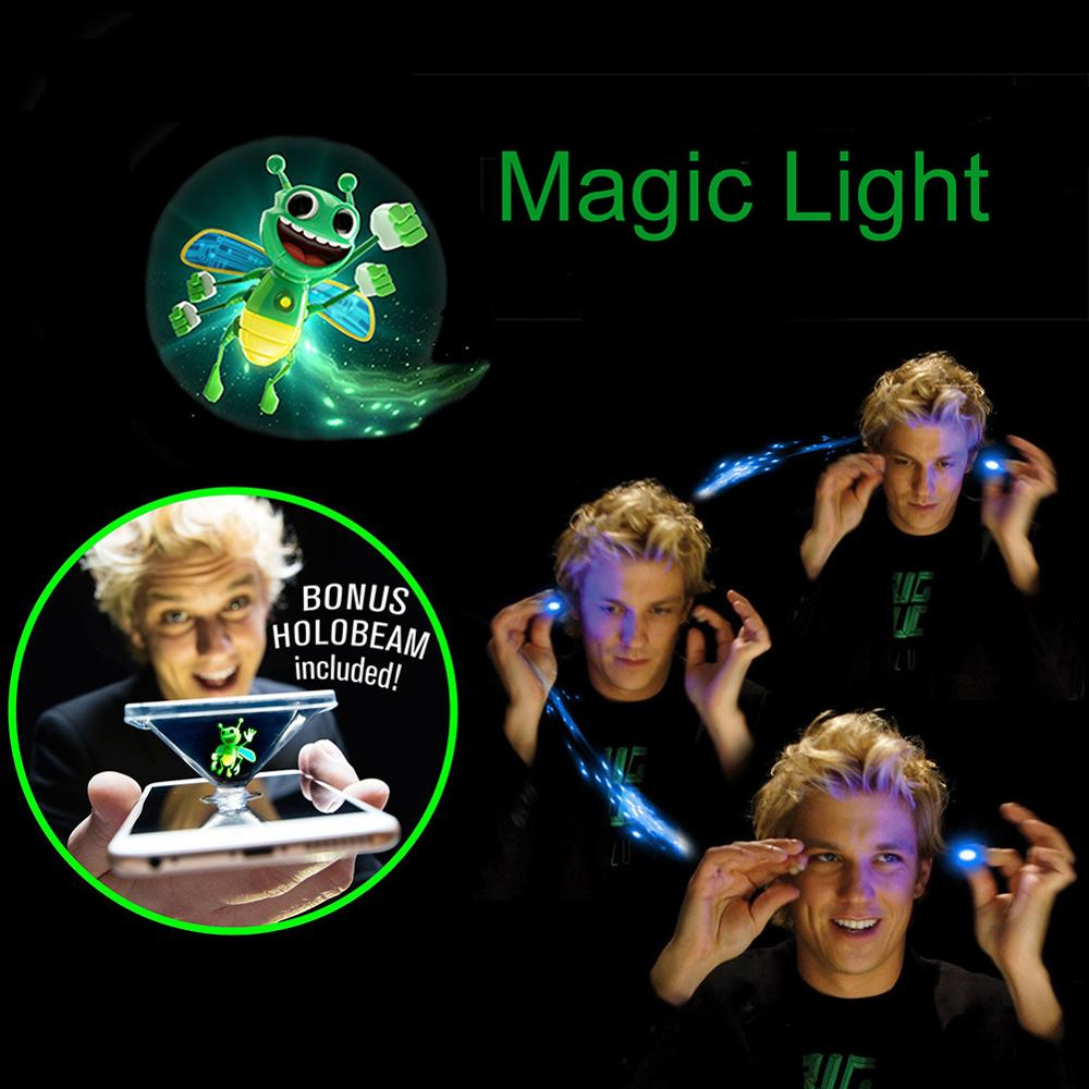 2Pcs 3D Bee Magic Lights Projector Fluorescent Finger Party Tricks Props Toy Fantastic Glow Toys Children Luminous Gifts