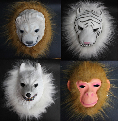 Free Shipping Tiger halloween Masquerade Horror Mask Soft And Light wolf Eva Mask With Long Hair Adult Children Monkey lion