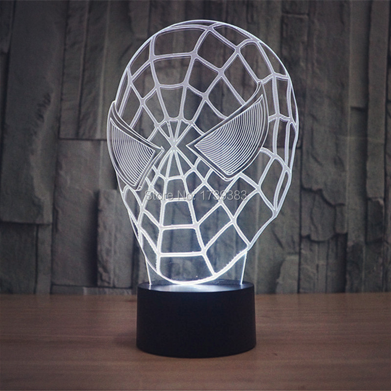 Free Shipping 1 piece 7 Color Changing Android USB 3D Spider Man Mask Acrylic LED night light with 3D luminous table lamp