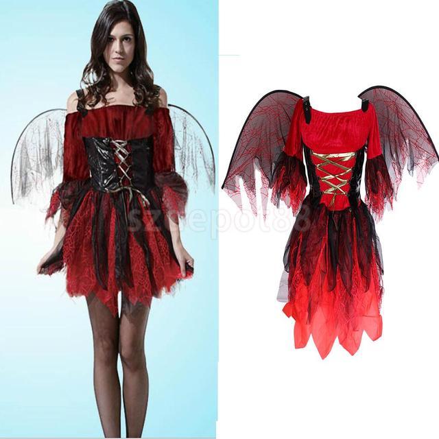 Lady Girls Halloween Bat Wings Zombie Costume Day Of The Dead Party Fancy Dress