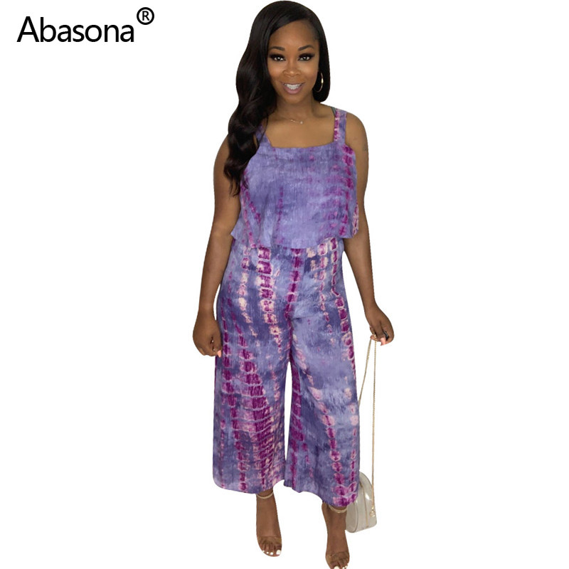 Abasona New Solid Tie Dye Print Strapless Wide Legs Loose Full Length Jumpsuit Fashion Sexy Bodysuit for Women's Party and Club(China)