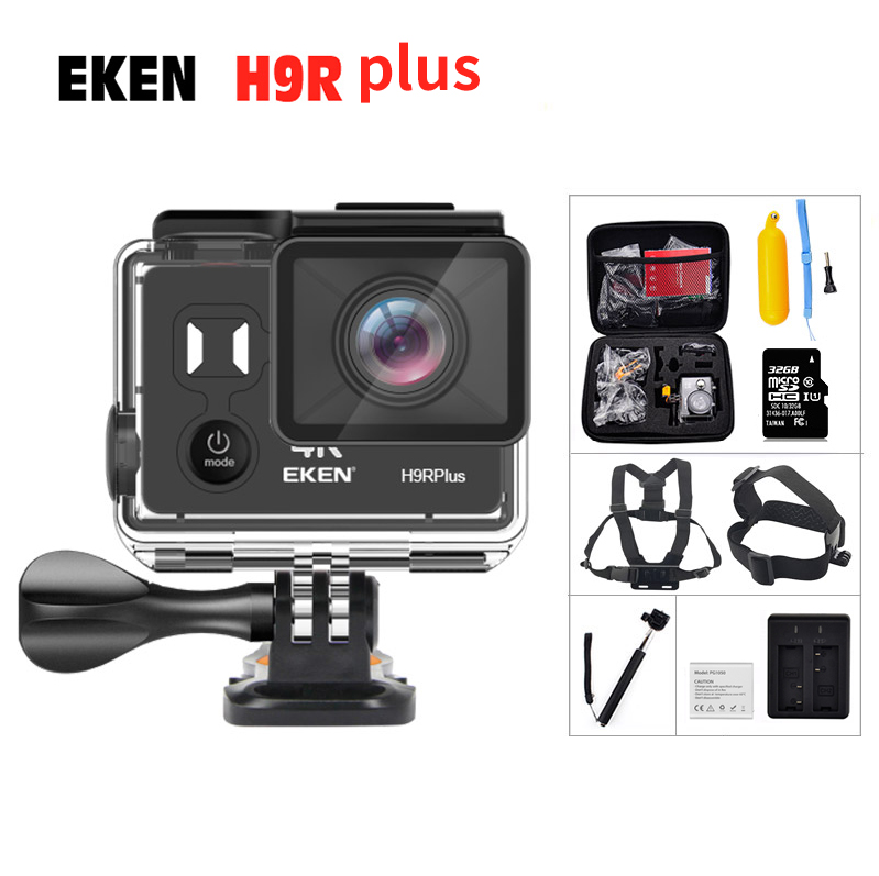 100% Original EKEN H9R Plus Ambarella A12 remote sports camera 4K 30fps Ultra HD 1080p 60fps 170D waterproof camera mini cam battery dual charger bag action camera eken h9 h9r 4k ultra hd sports cam 1080p 60fps 4 k 170d pro waterproof go remote camera