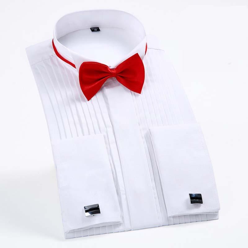 Dress Men Long Sleeve Solid Color Shirt Swallow Collar Dress Shirt Ceremonies Tuxedo Shirts Gift Bow Tie Swallow Collar