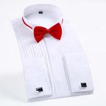 Elbise erkek uzun kollu düz renk gömlek swallow yaka elbise gömlek törenleri smokin gömlek hediye papyon kırlangıç yaka