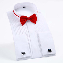 Kleid männer lange ärmel einfarbig shirt swallow kragen kleid hemd zeremonien Smoking shirts Geschenk fliege Swallow kragen
