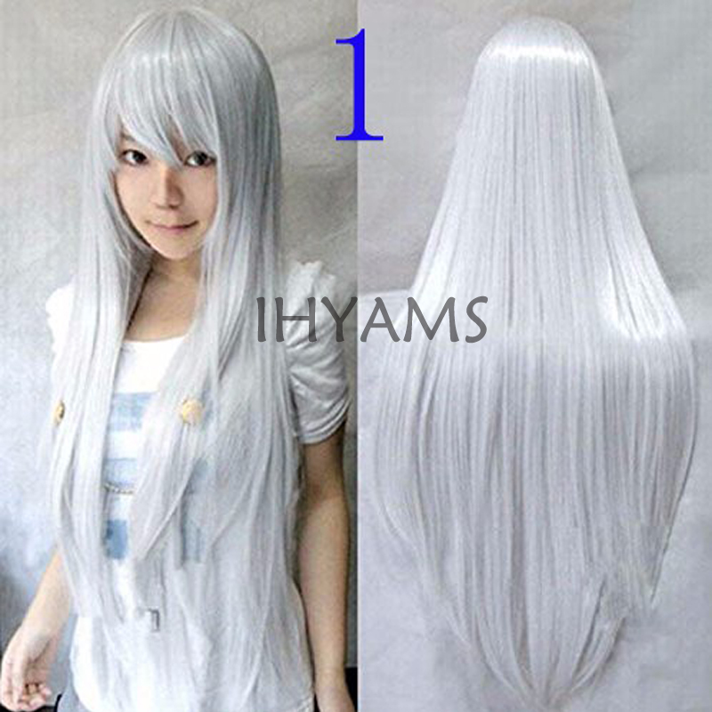 80cm Long Straight Synthetic Hair Hitman Reborn-Superbia Squalo Silver White Cosplay Costume Wig + Wig Cap