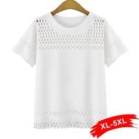 Plus Size Hollow Out Short Sleeve Blouse 4XL 5XL Solid Color White Black Picot Edge Blouse