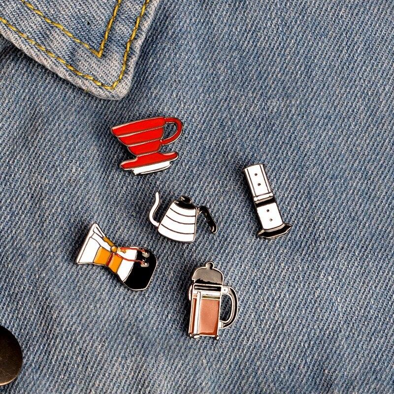J'adore le café! Bol à café avec filtre AeroPress Chemex, poinçon à main, épingles en émail, décoration de sac, chapeau, cadeau pour amoureux du café