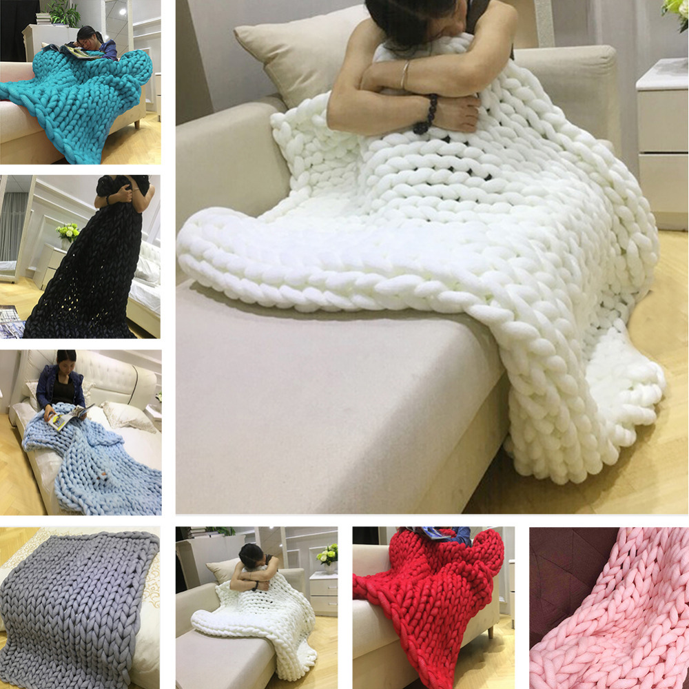 New Warm Super Thick Line Knitted Blanket Hand Knit Soft Used in Bed Sofa Plane Blanket
