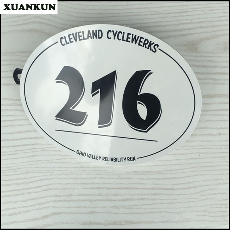 XUANKUN Cafe Racer Retro Motorcycle Modified Number Card With A Bracket