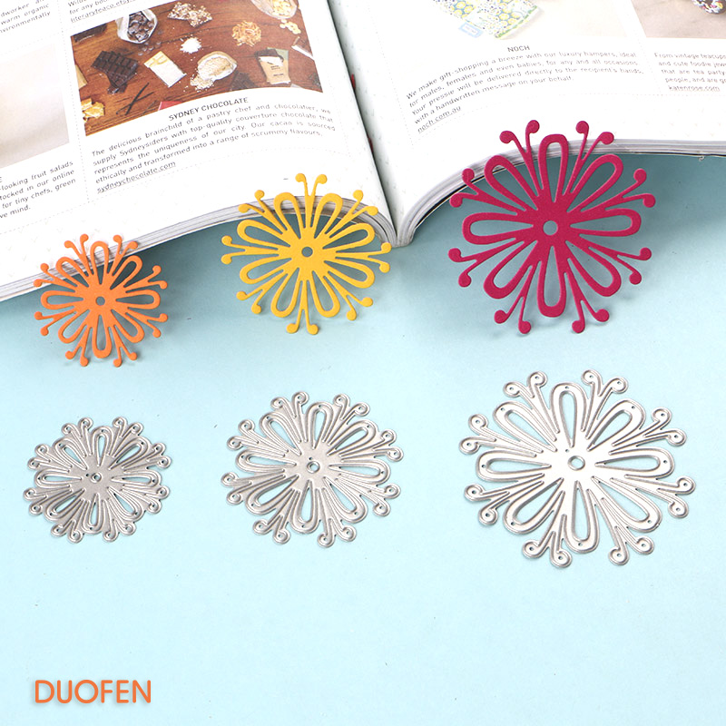 Duofen Metal Cutting Dies 2018 New 020130 3pcs Flowers For Diy