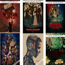 Classic sci-fi science stranger things nostalgia classic vintage cowhide decoration DIY wall stickers bar poster
