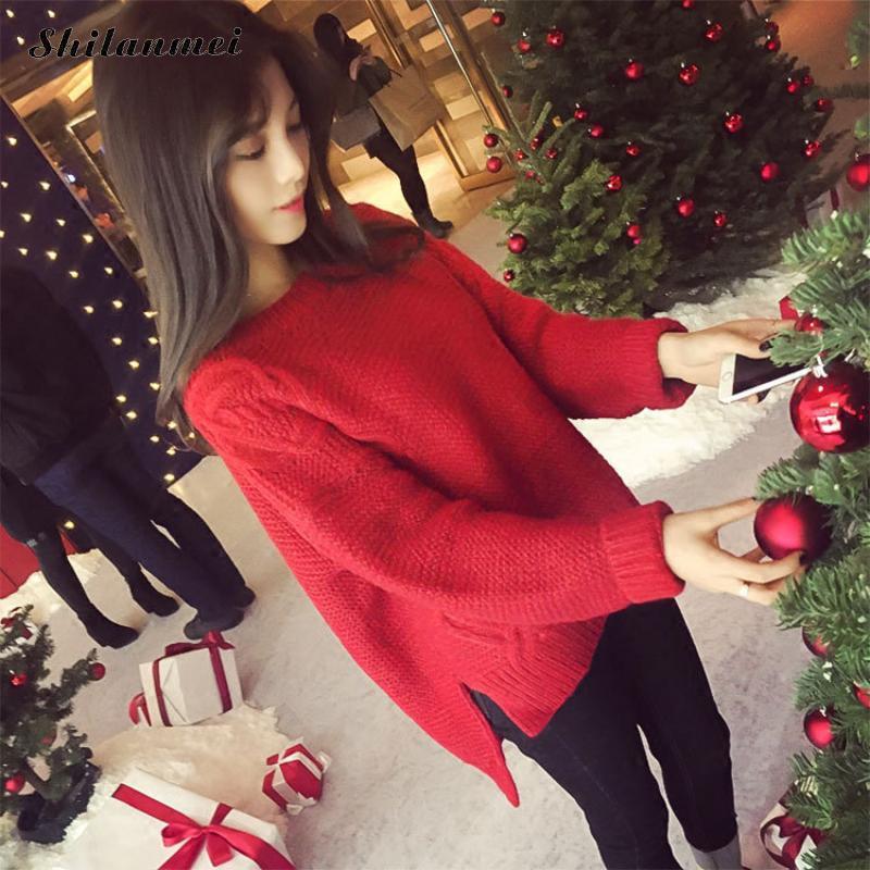 Knitted Sweater Rabbit-Fur Long-Sleeve Pullover Woman Streetwear Wool Autumn Winter Casual