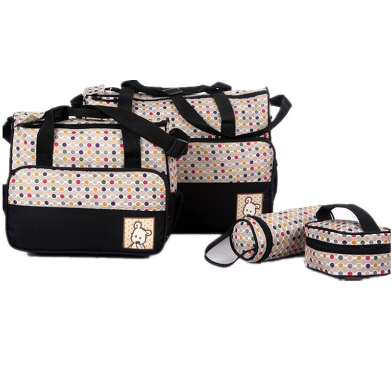 5PCS Suits Mother Baby Bags Changing Diaper Nappy Handbag Colorful Dot Cute Animal Outdoor Picnic Travel For Infant MBG00785PCS Suits Mother Baby Bags Changing Diaper Nappy Handbag Colorful Dot Cute Animal Outdoor Picnic Travel For Infant MBG0078