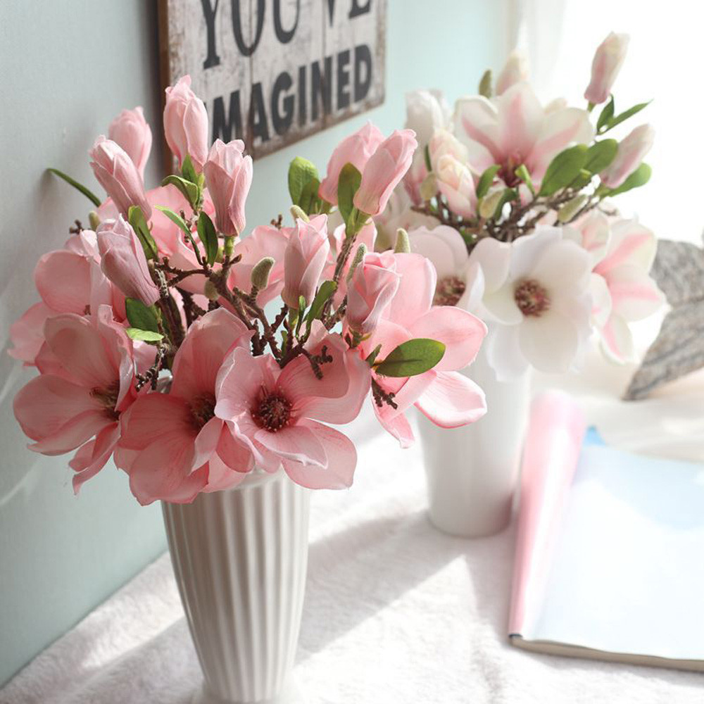 Artificial flowers for wedding artificial fake flowers leaf magnolia artificial flowers for wedding artificial fake flowers leaf magnolia floral wedding bouquet party home decor decoration wall 31 in artificial dried izmirmasajfo