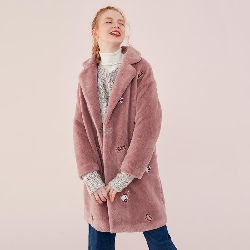 Hiver Fluff broderie fausse fourrure manteau femmes mode Chic Long Double-face fourrure veste 2019 nouveauté femmes Teddy Bear manteau