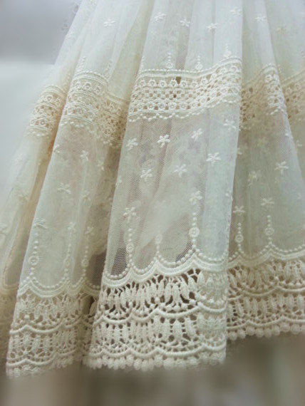 Cream cotton embroidered tulle lace fabric with daisy flowers, tulle lace fabric with polka dots, mesh lace fabric