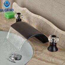 Ulgksd масло втирают Бронзовый бассейна кран и ванной кран палубе крепление Водопад смеситель для ванны горячей и холодной смесители воды