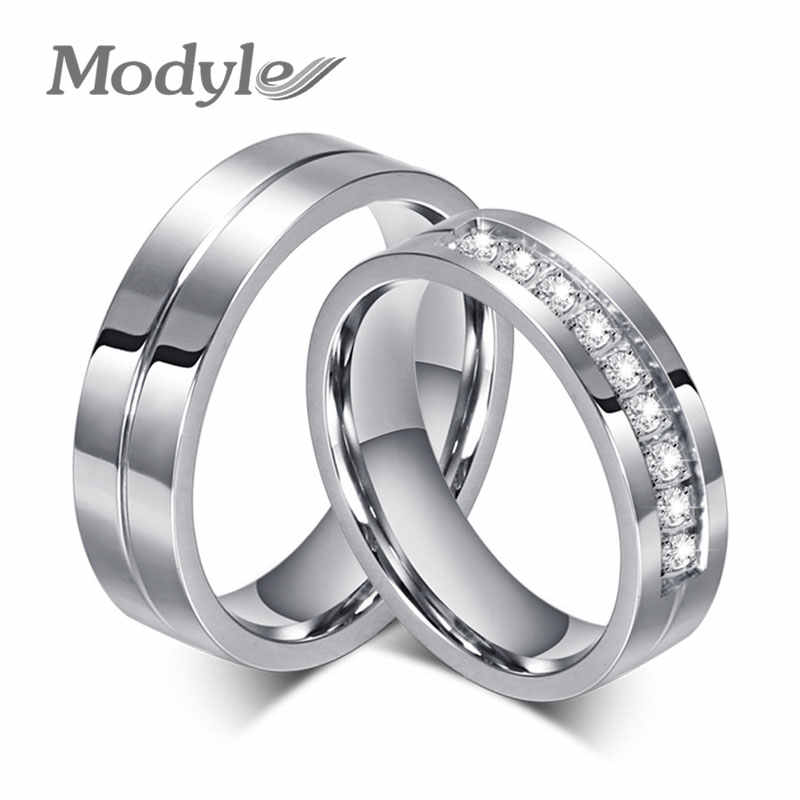 Modyle 2019 New CZ Wedding Rings for Women Men Silver-Color Couple Engagement Ring Jewelry