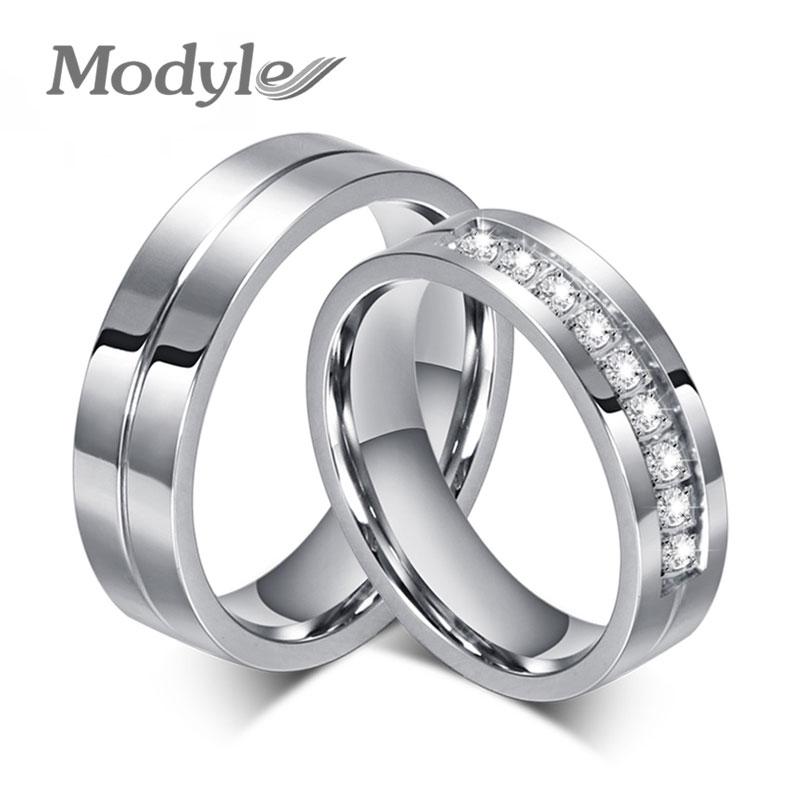 Modyle 2018 New Cz Wedding Rings For Women Men Silver Color Couple