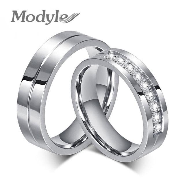 57045bb74f96 Modyle 2018 nuevos anillos de boda CZ para Mujeres Hombres plata-Color pareja  anillo de