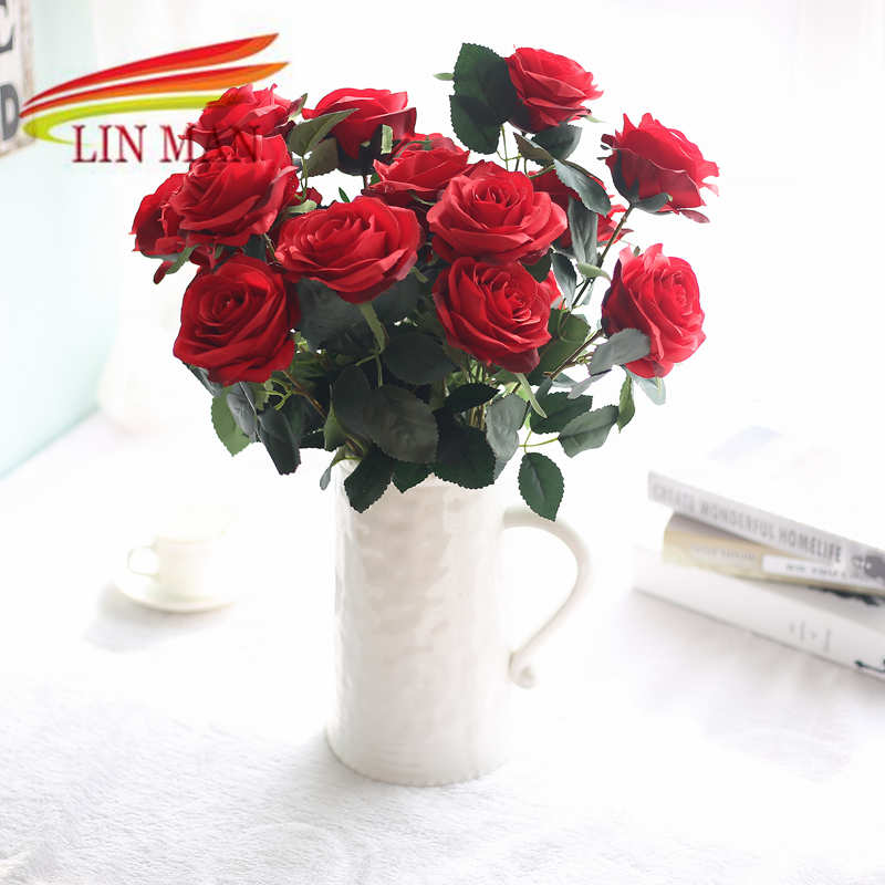 2 bunches 10 hesds rose artificial silk floral bouquet fake flower arrange table wedding home decor - Silk Arrangements For Home Decor 2