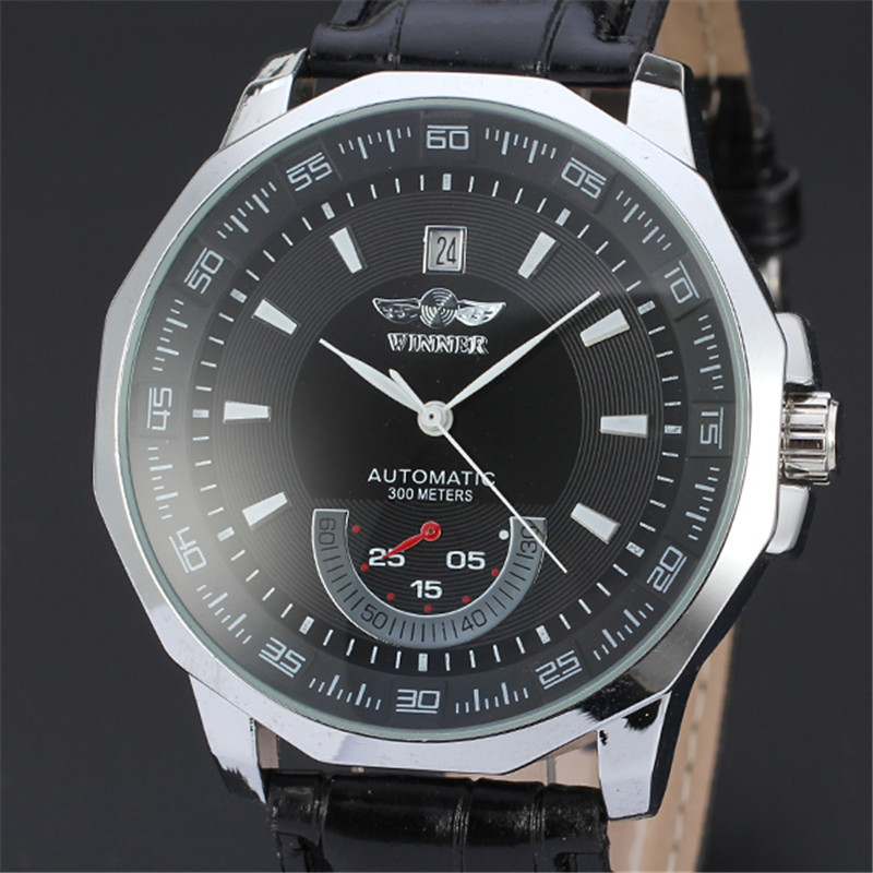 New Luxury Brand Winner Men's Automatic Self-winding Mechanical Watches Leather Strap Band Males Casual Wristwatch Clocks reloj luxury men brand crystals dress watches self winding mechanical 316l band calendar wristwatch saphir relojes analog 3atm nw4239