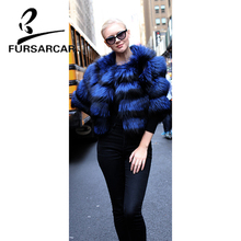 FURSARCAR New Winter Real Silver Fox Fur Coat Women Thick High Quality Luxury Female Jacket