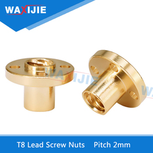 T8 Trapezoidal Nuts 8mm Part Copper Screws For Stepper Motor Lead Screw Diameter 10mm Pitch 2mm Brass 3D Printer Accessories