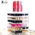 Exquisito Acrílico Rotating lipstick case holder Organizador Cosmético de Maquillaje Caja de Presentación de Almacenamiento Bastidor Soporte de regalo de Lujo para las mujeres