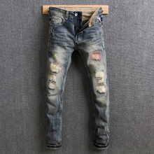 Italian Style Fashion Men Jeans Retro Color Vintage Design Ripped For Destroyed Broken Denim Pants Hip Hop homme