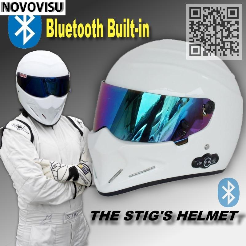 купить NOVOVISU The STIG Helmet With Bluetooth Built in White Helmet Capacete Casco De with Colorful Visor + Phone Call Intercom Motor по цене 8333.25 рублей