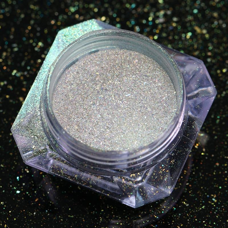 0 2g Neon Nail Powder Chameleon Mirror Nail Glitter Powder Chrome Pigment DIY Decoration BJ16 in Nail Glitter from Beauty Health