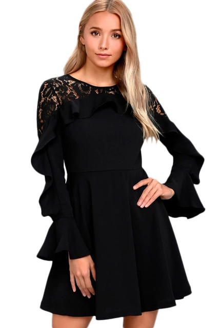 Fashion Solid Patchwork Ruffle Long Sleeve Skater Dress Women Stylish Black  Lace Mini Dress 3S220164- c867f0794