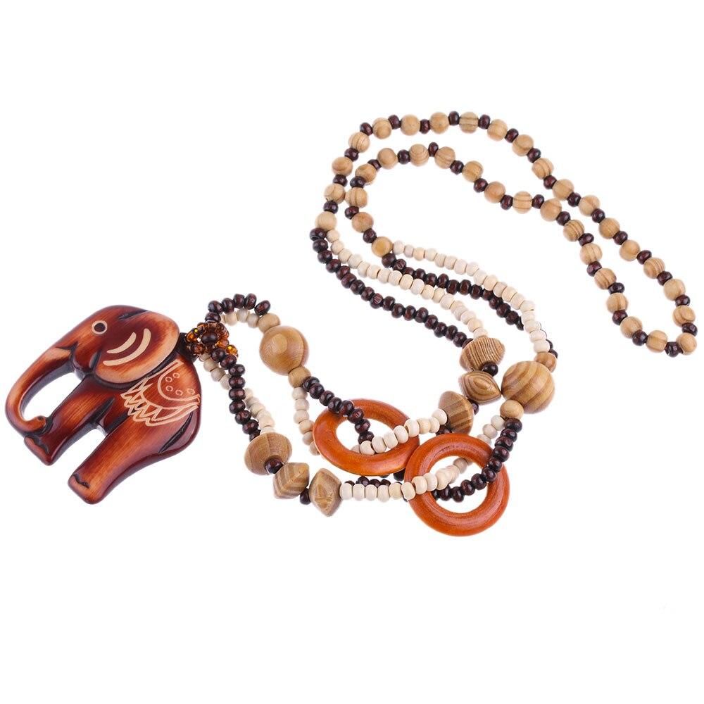 1 шт. Женщины Boho Style Этническая ручной работы из бисера Дерево Слон Подвеска длинное ожерелье свитер Сеть ювелирных подарок