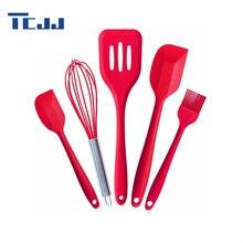 5 Stücke DIY Silikon Gebäck Kochen Backen Schaber Sätze Pastry Oil Utensilien Küchenpinsel Spatel Küche Kochen Werkzeuge