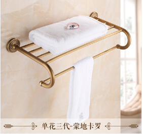 New Arrivals Wall Mounted Towel Rail Antique Brass Towel Holder Copper Material Bathroom Towel Racks Towel Shelf fully copper bathroom towel ring holder silver