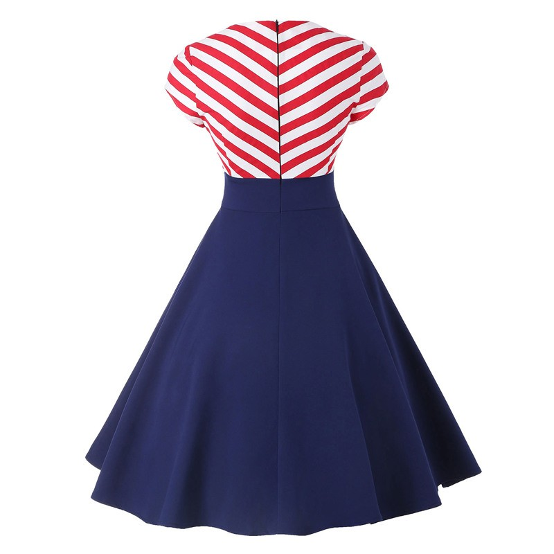 L-4XL Plus Size Women Retro Striped Contrast A Line Rockabilly Dress V Neck Button Vintage Pin Up Midi Dresses Vestido Femininos