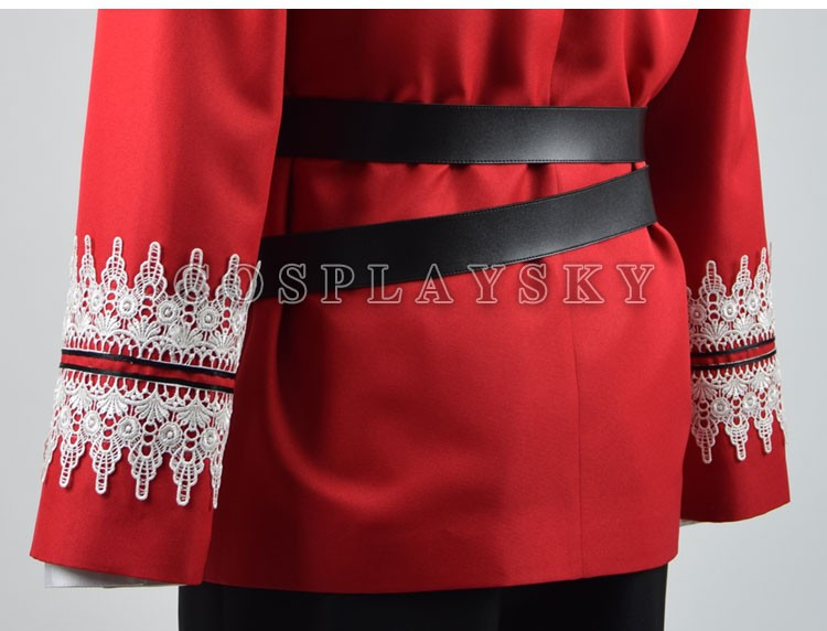 Once Upon a Time Prince Charming Red Uniform Outfit With Cloak Cosplay Costume_06