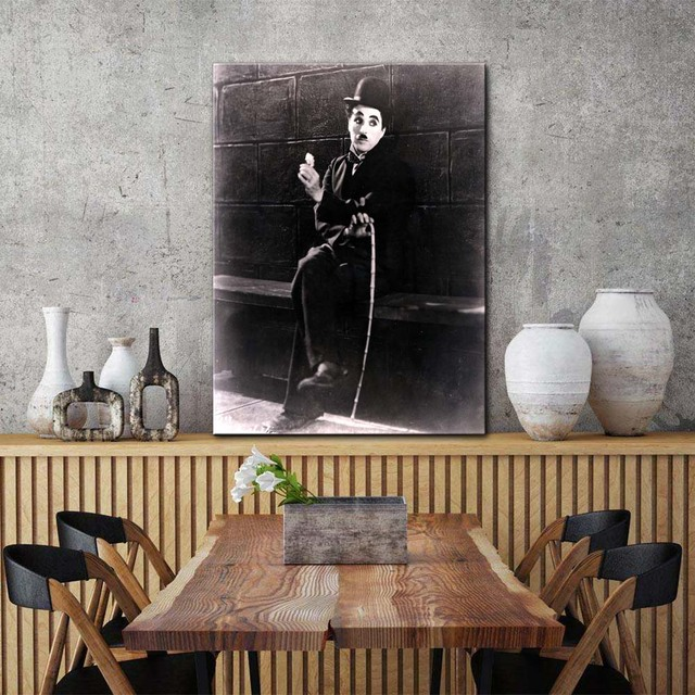 f17b7a5ab97 Black and white retro Charles Chaplin movie poster wall picture canvas art  print stretched frame Artwork painting home decor