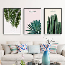 Scandinavian Nature Green Leaf Plants Canvas Wall Art Poster Nordic Style Prints Painting Palm Tree Cactus Picture Room Decor