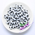 Free Shipping Most Popular 100pcs/lot 12mm White Color Soccer Beads For Sport World Cup Beads For Event CDWB-517173
