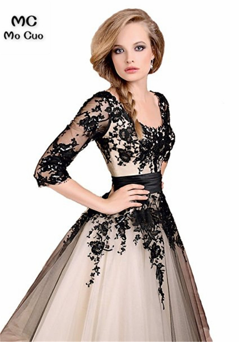 Promotion 2018 Mother Prom Dresses Long Half Sleeve V-Neck Appliques Lace Mother Of The Bride Dress The Mother Of The Groom
