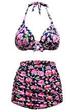 flower print bikini vintage high waist retro bikini swimsuit halter padded push up swimwear for women retro vintage bikini 41874