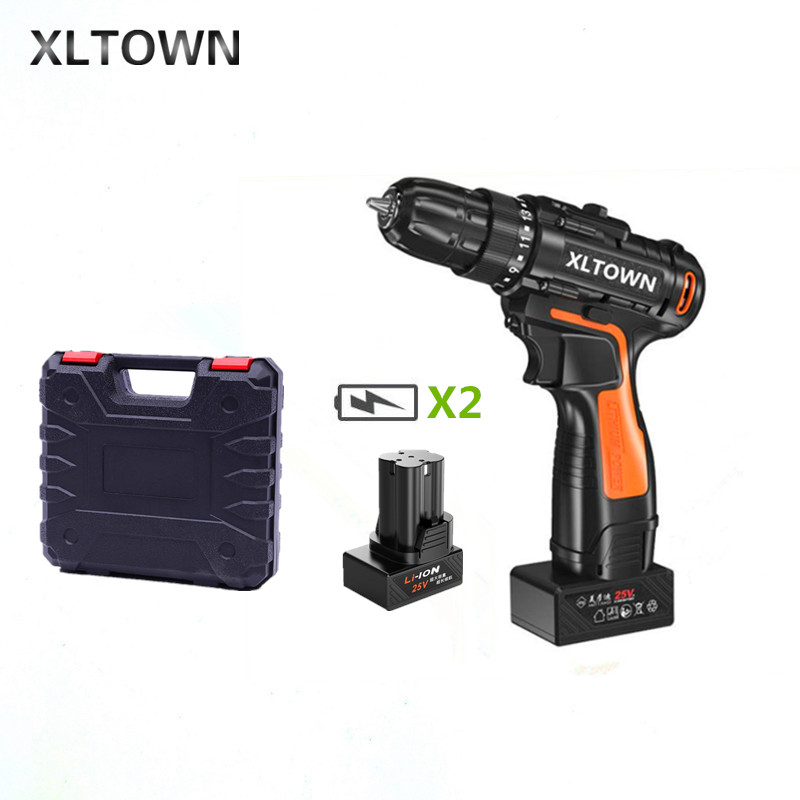 XLTOWN 25v electric screwdriver with 2 battery rechargeable lithium battery cordless drill home power hand drill power tools xltown 25v electric screwdriver home multifunction electric drill rechargeable lithium battery electric screwdriver power tools