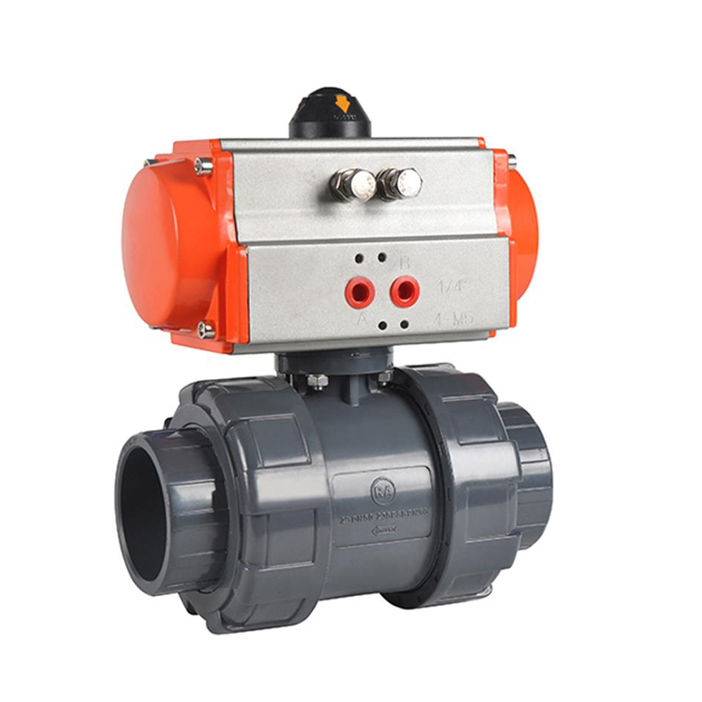 Double Union DN32 PVC Pneumatic 2 Ways Ball Valve 1-14 inch Plastic Pneumatic Ball Valve PTFE Sealing for Water Use