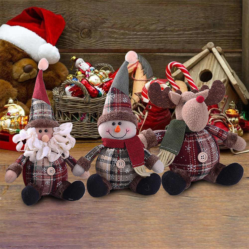 A Set of 3pcs Home Bar Office Decoration Xmas Sanding Plush Santa Claus Doll with Oil lamp Desktop Figurines Christmas Kids Toy